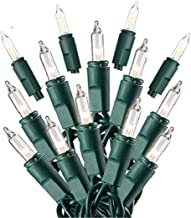 Prextex 100-Count Clear Green Wire Christmas Light Set Christmas Decorations