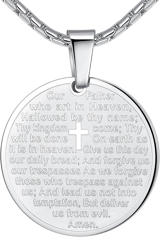 gift Aoiy Stainless Alternative dealer Steel Lord's Prayer N Cross Medallion and Pendant
