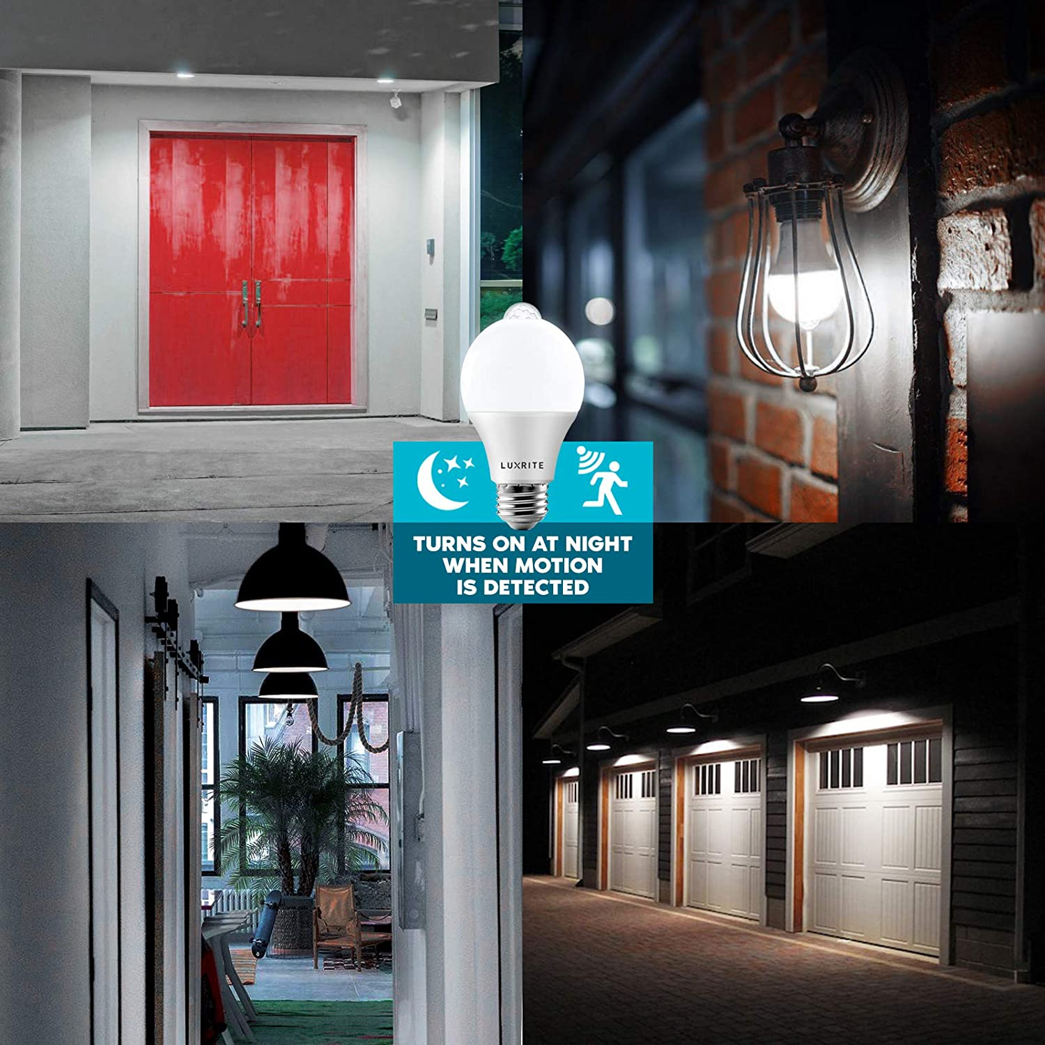 3000K Soft White Indoor//Outdoor E26 Base Security Light Bulb 6 Pack Luxrite A19 LED Motion Sensor Light Bulbs 60W Equivalent 800 Lumens UL Listed Motion Activated Dusk to Dawn Sensor