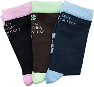 Pack 3 Pares Frases 36-40 - Calcetines Colores Mujer Negro Azul Marrón