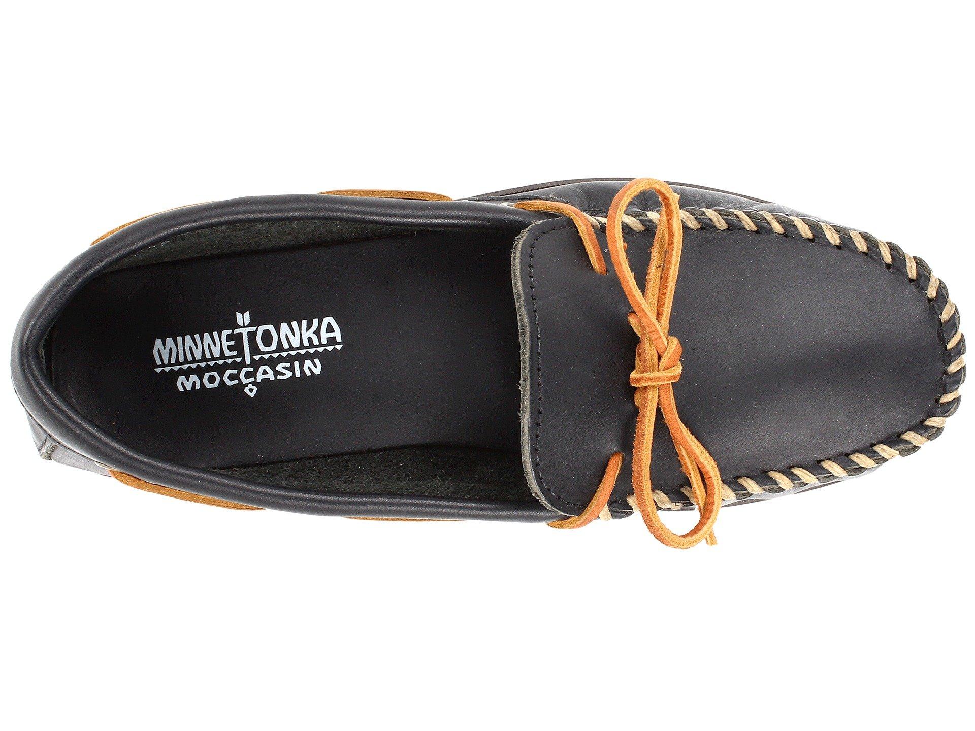 Mocc Minnetonka Smooth Leather Black Camp Twan5xqwF
