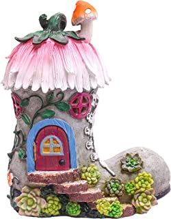 TERESA'S COLLECTIONS 8.8 Inch Garden Statues Fairy House - Boot, Solar Powered Garden Lights Cottage Sculptures and Figuri...