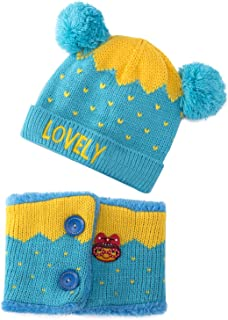 Dreamslink Hat Kids Winter Hat Plus Velvet Thickening Warm Baby Knitted Hat with Scarf Crown Cap, Blue