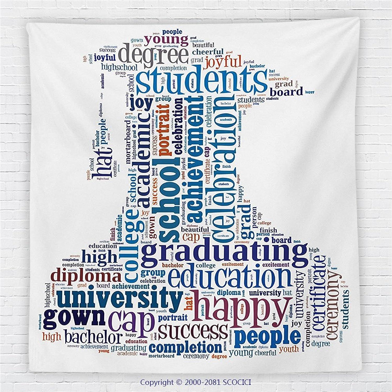 59 x 59 Inches Graduation Fleece Throw Blanket Education Cap Arrangement with Words Bachelor School Young Student Grown Design Blanket Multi