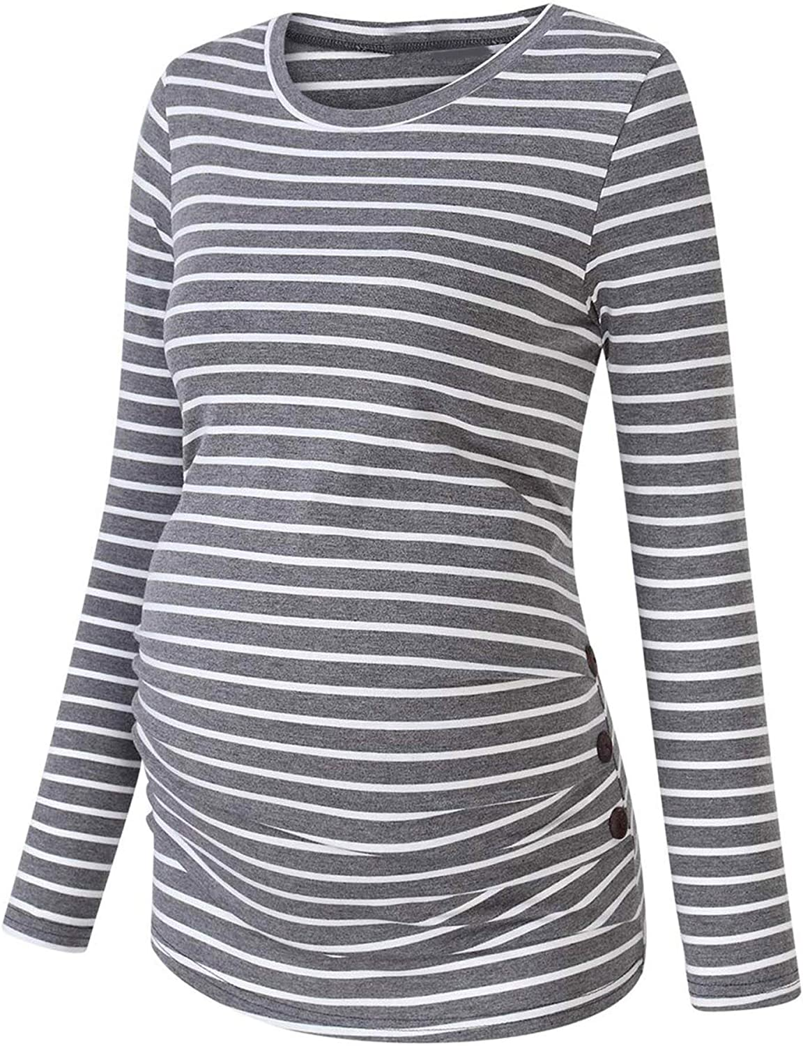 QinCiao Women's Maternity Some reservation T-Shirt Tops Striped Long Side Sleeve 5% OFF
