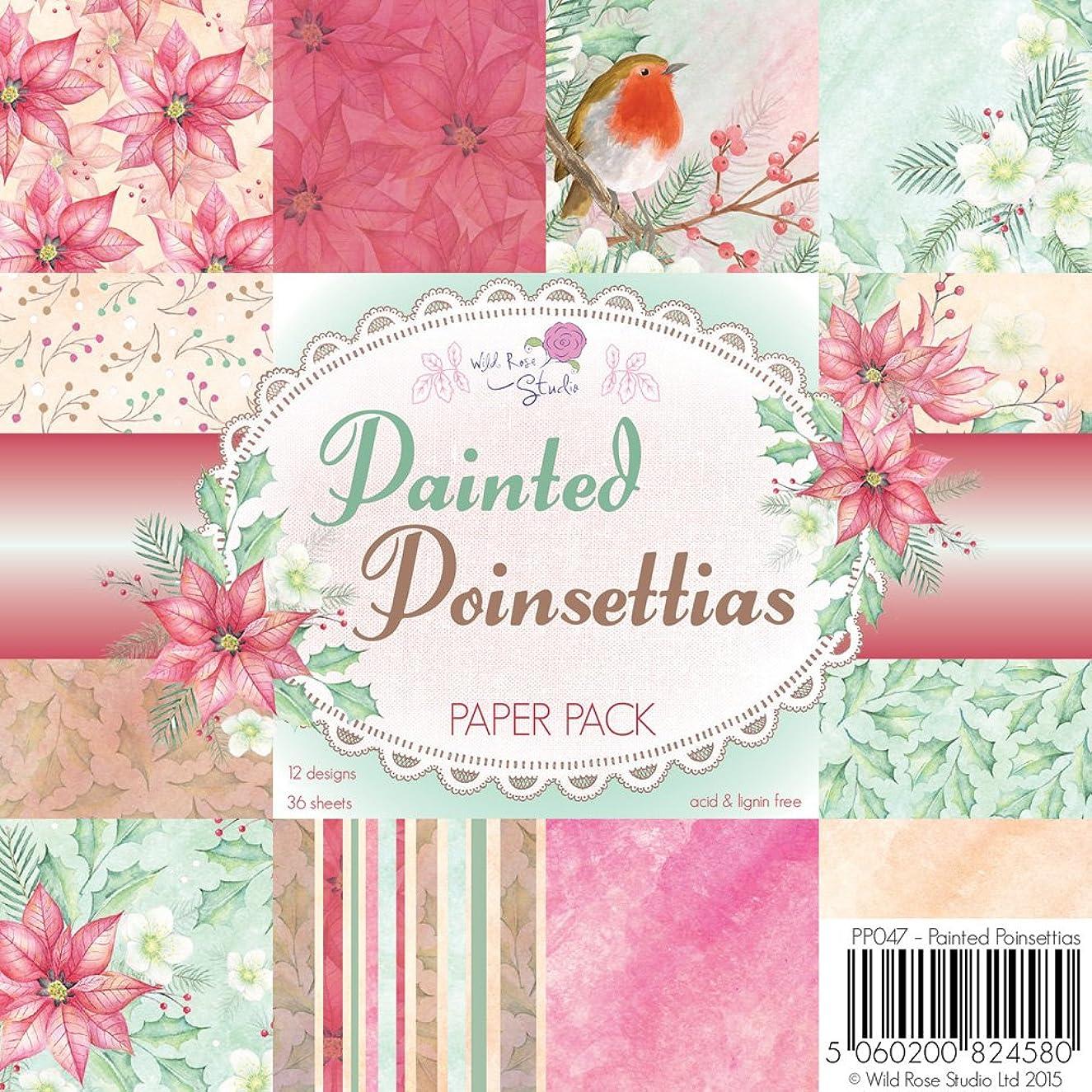 Wild Rose Studio Painted Poinsettias Paper Pack (36 Pack)