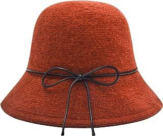 Womens Winter Wool Knit Bucket Hats Warm Solid Fedora