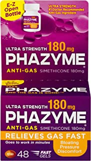 Phazyme Ultra Strength Gas and Bloating Relief | 180 Mg Simethicone | 48 FAST GELS