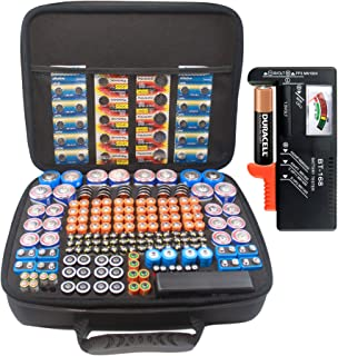 Large Battery Organizer Case with Battery Tester BT168, Fit 240+ 1.5V C, D, AA, AAA, AAAA, Button Cell, CR123A, 18650, 4LR...