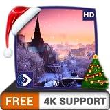 無料の城の降雪HD-HDR 4K TV、8K TVの美しい景色を壁紙として、クリスマス休暇の装飾、調停と平和のテーマとしてお楽しみください