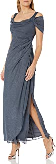 Women's Long Cold Shoulder Dress (Petite and Regular Sizes)