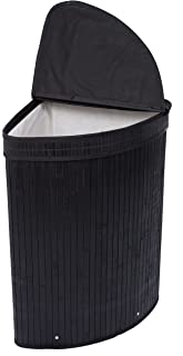 BirdRock Home Corner Laundry Hamper with Lid and Cloth Liner - Bamboo - Black - Easily Transport Laundry Basket - Collapsible Hamper - String Handles