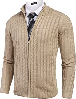 Men's Full Zip Cardigan Sweater Slim Fit Cotton Cable Knitted Zip Up Sweater with Pockets