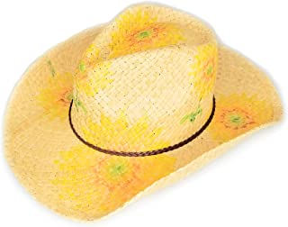 Summer Straw Cowboy Hats for Women, Lightweight Raffia Cowgirl Hat w/Sunflower Print