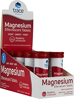 Trace Minerals Magnesium Effervescent Tablet, 80 servings, Raspberry flavor, Heart, Energy, Mood, PH