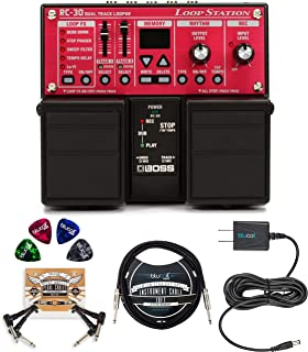 BOSS RC-30 Loop Station Bundle with Blucoil Slim 9V 670ma Power Supply AC Adapter, 10-FT Mono Instrument Cable, 2-Pack of Pedal Patch Cables, and 4-Pack of Celluloid Guitar Picks