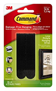 Command Picture Hanging Strips Heavy Duty, Large, Black, Holds 16 lbs, 4-Pairs (17206BLK-ES)