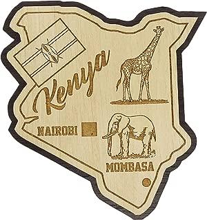 Printtoo Wooden Engraved Kenya Map Fridge Magnet Souvenir Gift