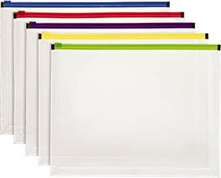 Pendaflex Poly Zip Envelope, Letter Size, Assorted Color Zippers, 5 per Pack (85292)