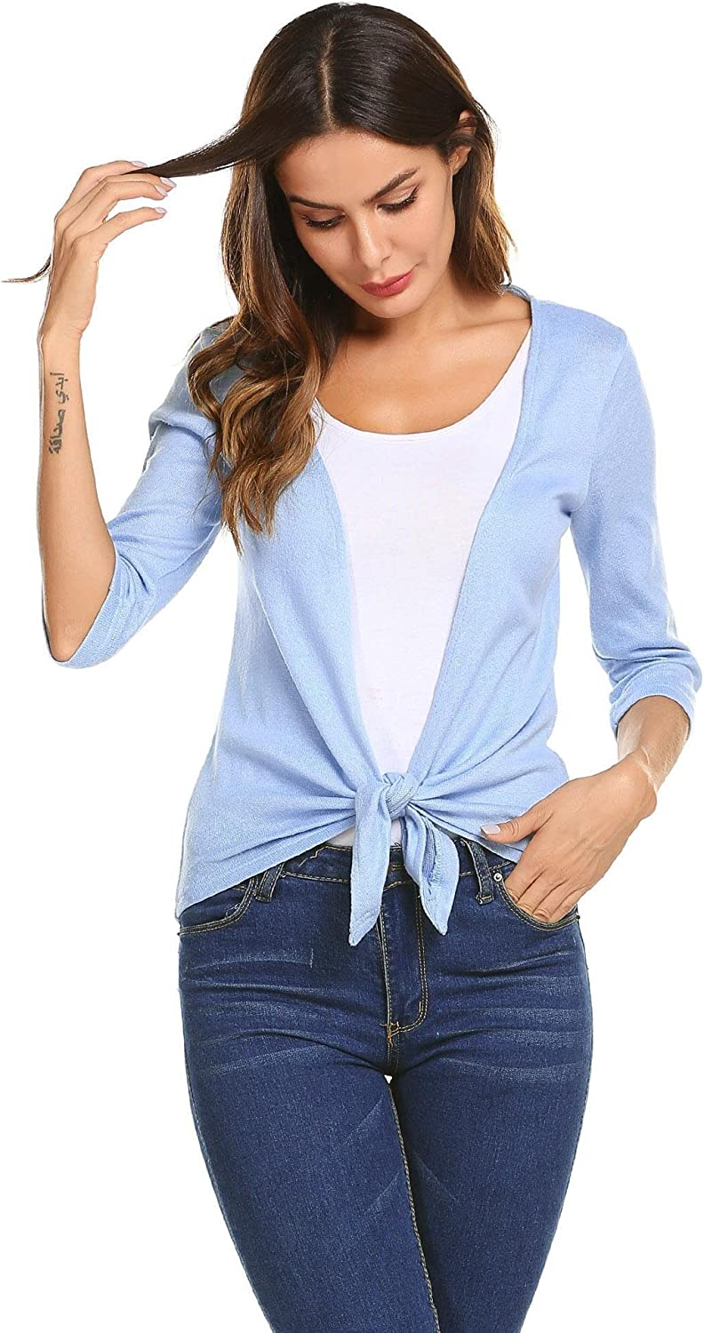 Aimado Women 3 4 Sleeve Solid Draped Open Front Cotton Cardigans(S,XXL)