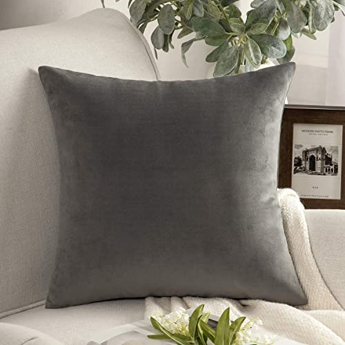 high quality Phantoscope Velvet Decorative Throw Pillow Cover Soft Solid Square Cushion Case for Couch new arrival Dark Grey 22 x 22 inches 55 high quality x 55 cm outlet online sale
