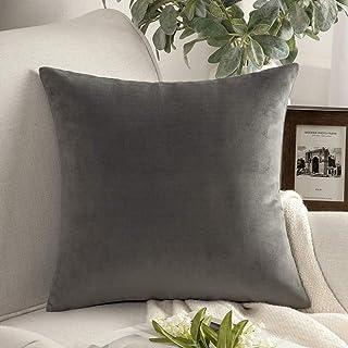 "PHANTOSCOPE Decorative Soft Velvet Series Grey Throw Pillow Case Cushion Cover 20"" x 20"" 50 x 50 cm"