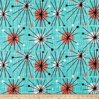 Michael Miller Turquoise Mid-Century Modern Atomic Fabric by The Yard