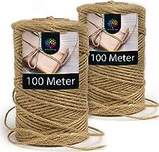 OfficeTree Natuurkoord - 200 meter knutselsnoer - 2 rollen jute koord hoogwaardig natuurproduct voor huishouden, tuindecor...