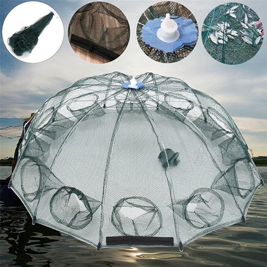 受け皿勤勉な差Lacyie 漁具 魚捕り網 網自動漁網 魚網 軽量 コンパクト収納 折り畳み式 完成仕掛け エビ/カニ/魚など ばっちり捕獲