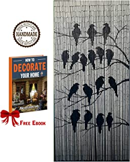 TACHILC Bamboo Beaded Curtain for Doorway, Beaded Curtain for Closets, Bamboo Door Beads Hanging Decoration, Hippie Beads for Doorways 35.5 inches x 78 inches - The Birds