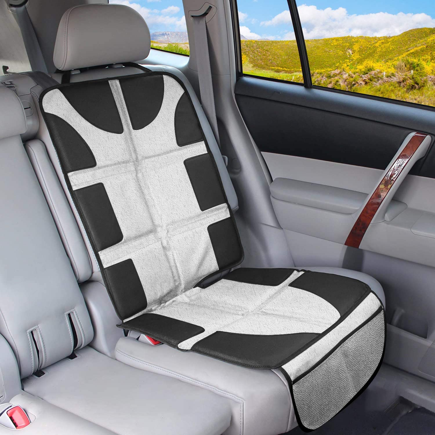 Car Seat Protector for Kids, Back Seat Protector Kids, Backseat Protector for Baby with Pockets, Thick Padding