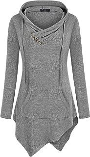 Uneven Hemline Hoody Shirt Pocket Tunic Long Sleeve Casual Tops
