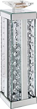 Accent Candleholder Mirrored and Faux Crystals Silver Wood