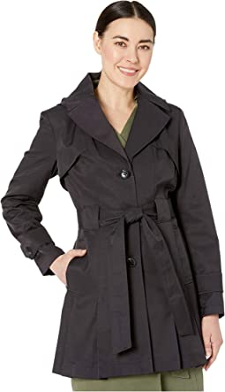 Petite Single Breasted Trench w/ Detachable Hood and Inverted Pleats