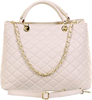 Primo Sacchi® Ladies Italian Quilted Leather Hand Made Large Top Handled Shoulder Bag Handbag, with Metal Chain and Leather Strap Includes a Branded Protective Storage Bag