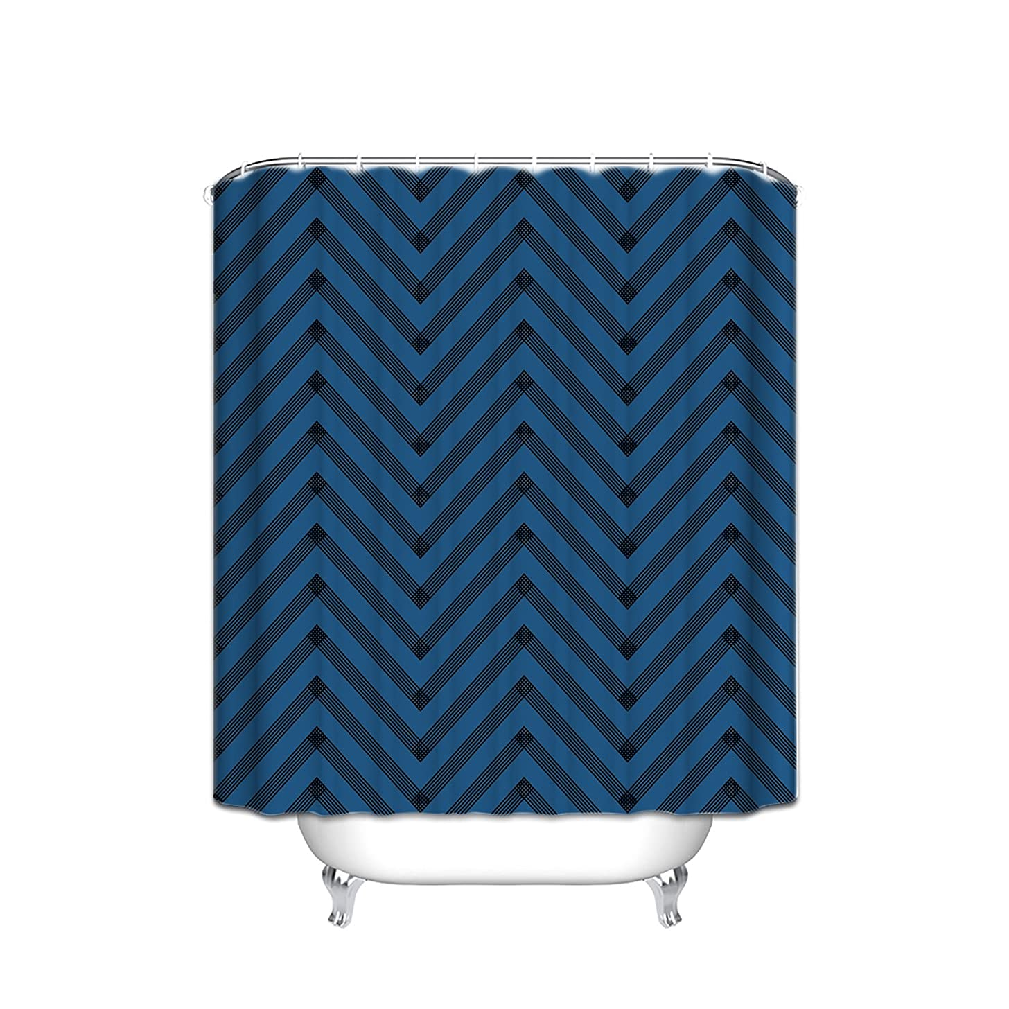 Chevron Lattice Zig Zag Stripe Geometric Shower Curtain Geometric Illustration Decorations , Polyester Fabric Bathroom Set With Hooks, Mildewproof, Cleanable, Odorless, Spa Bathroom,Blue Black