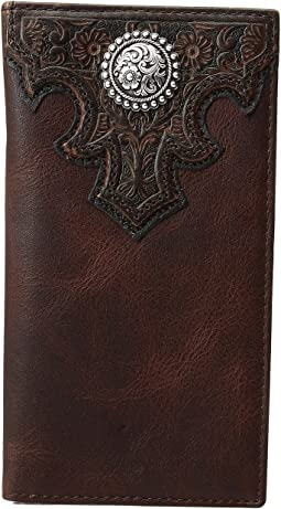 Overlay Scroll Concho Croc Embossed Rodeo Wallet