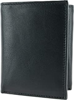 CTM Men's Leather Trifold Wallet with Interior Flap, Black