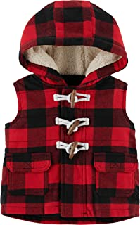 Carter's Baby Boys Hooded Buffalo-Check Toggle Vest - Red/Black
