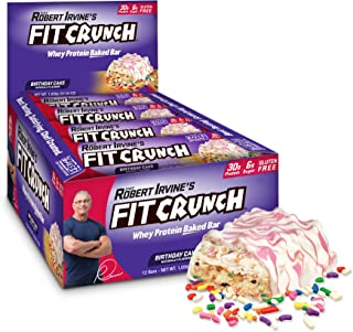 FITCRUNCH Protein Bars | Designed by Robert Irvine | World's Only 6-Layer Baked Bar | Just 6g of Sugar & Soft Cake Core (12 Bars, Birthday Cake)