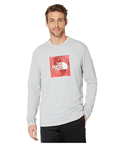 The North Face Long Sleeve Recycled Materials T-Shirt (TNF Light Grey Heather/TNF Red) Men