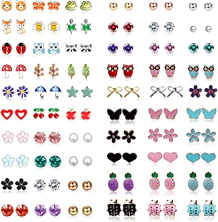 Yadoca Stainless Steel 30-60 Pairs Stud Earrings for Women Mixed Color Cute Animals CZ Jewelry Earring Set Heart Star Fox Bee Frog Ladybug Daisy Flower Tree Mushroom Umbrella Rose Gold White