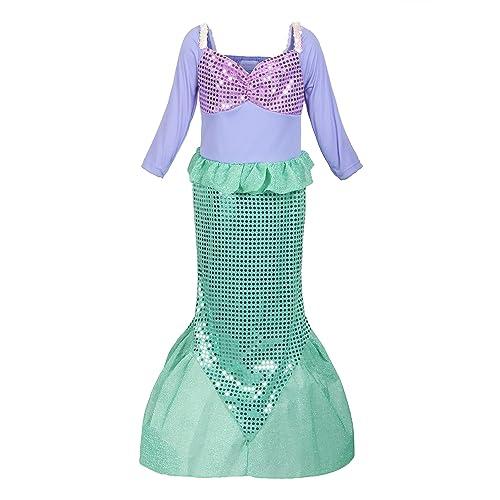 1333223b39b9 ReliBeauty Girls Ariel Dress Sequins Little Mermaid Costume