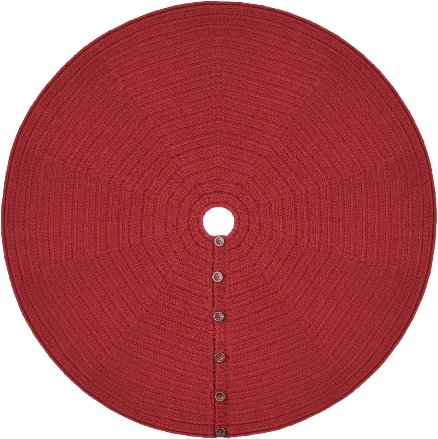 Ruby Red Starry Dynamo 48-Inch Knit Christmas Tree Skirt Hand-Knitted Xmas Home Holiday Decor with 4-Inch Center Hole and 6 Wood Button-and-Loop Closure