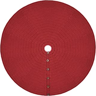 Starry Dynamo 48-Inch Knit Christmas Tree Skirt, Hand-Knitted Xmas Home Holiday Decor with 4-Inch Center Hole and 6 Wood Button-and-Loop Closure (Ruby Red)