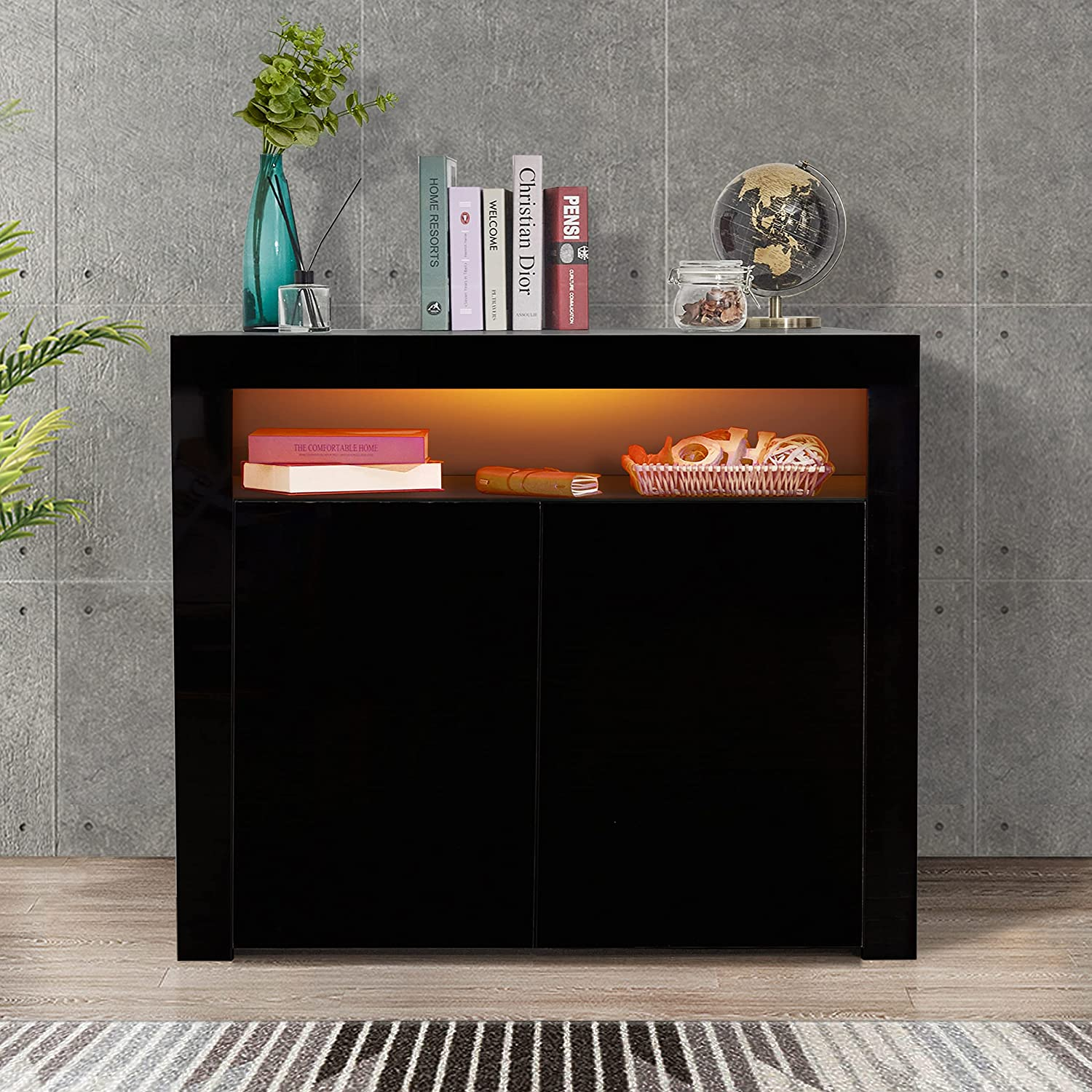 DMAITH Modern High Gloss Sideboard Buffet Storage Cabinet with Led Lights, 1 Open Shelf and 2 Doors, Cupboard for Kitchen, Dining Room and Living Room, Black (002B)