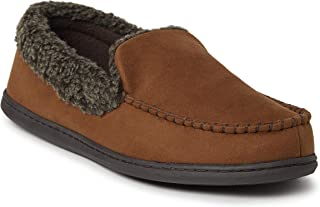 EZ Feet Men's Mixed Material Moccasin with Whipstitch Detail Indoor/Outdoor Breathable Memory Foam Slipper