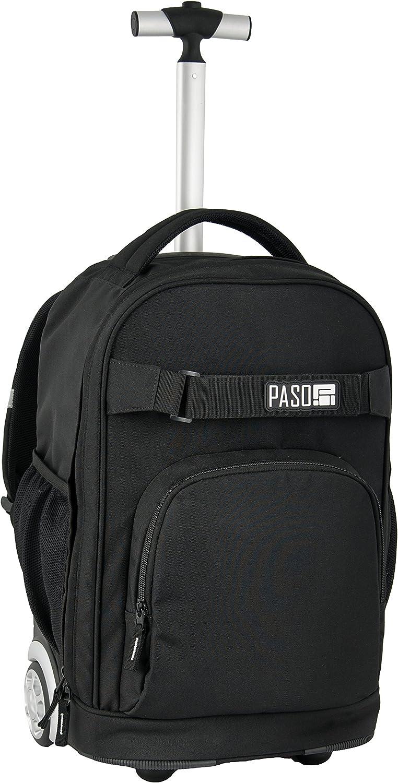 Paso Trolley Rucksack mit Rollen Schulrucksack 17-1230 (schwarz)