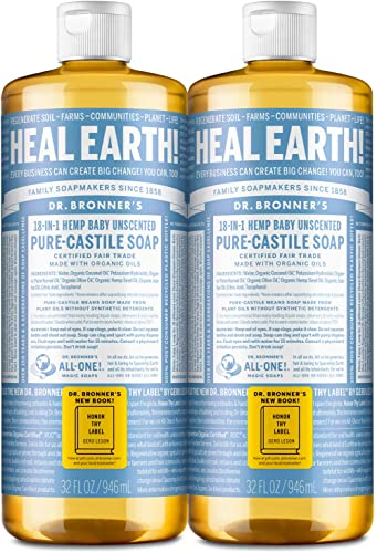 Dr. Bronner's - Pure-Castile Liquid Soap (Baby Unscented, 32 ounce, 2-Pack) - Made with Organic Oils, 18-in-1 Uses: F...