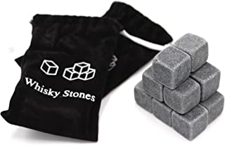 ANFIMU Set of 12 - Pure Soapstone Reusable Chilling Rocks for Whiskey - No Water Dilution & Perfect for Liquor, Wine and O...